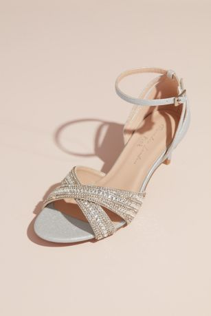 Pink Paradox Grey;Ivory Sandals (Crisscross Crystal Ankle-Strap Low-Heel Sandals)