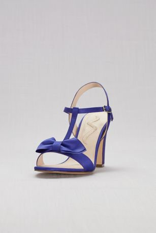 Nina Blue;Pink;Yellow (Satin T-Strap Block Heel Sandals with Bow)