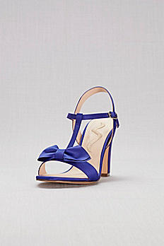 Bowtied Satin T-Strap Block Heel Sandals SAFIREDS