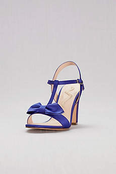 Nina Blue (Satin T-Strap Block Heel Sandals with Bow)