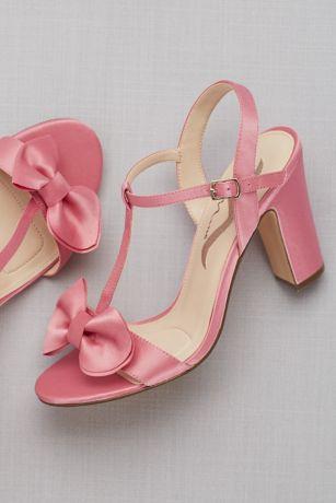 Satin T Strap Block Heel Sandals With Bow David S Bridal