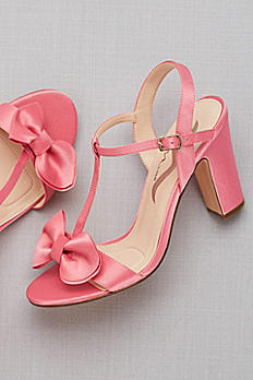 Satin T-Strap Block Heel Sandals with Bow SAFIRE