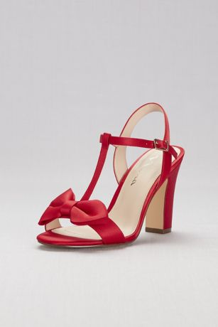 Nina Pink;Red Heeled Sandals (Satin T-Strap Block Heel Sandals with Bow)