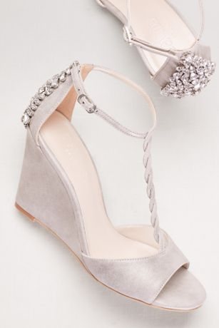 David's Bridal Grey Wedges (Braided T-Strap Wedges with Crystals)