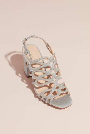 Pink Paradox Grey (Strappy Glitter Block Heel Sandals)