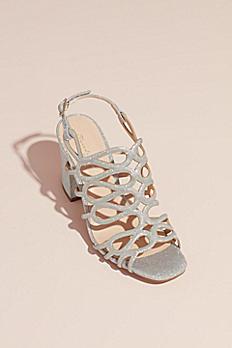 Strappy Glitter Block Heel Sandals SALISA