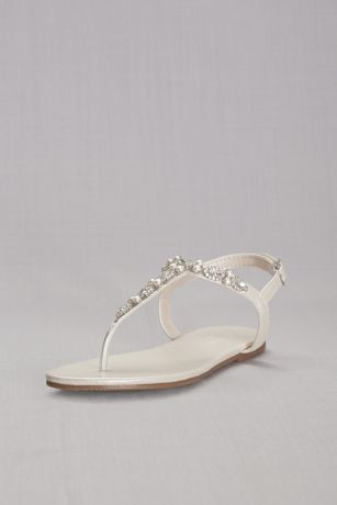 Grey;Ivory Flat Sandals (Pearl and Crystal T-Strap Sandals)