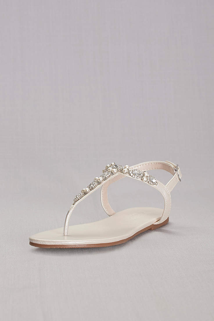d130f527a47e David s Bridal Grey Ivory Flat Sandals (Pearl and Crystal T-Strap Sandals)