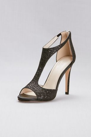 David's Bridal Black Heeled Sandals (T-Strap Heels with Glitter Fabric)