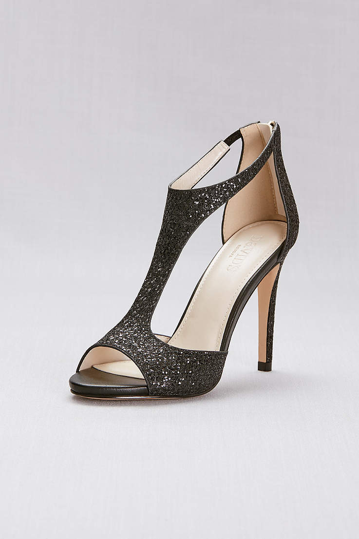86bb2c545 David's Bridal Black Heeled Sandals (T-Strap Heels with Glitter Fabric)