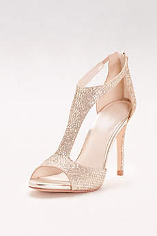 David's Bridal Black Peep Toe Shoes (Glitter Fabric T-Strap Heels)