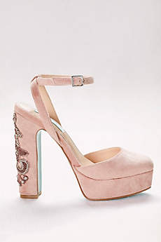 Blue By Betsey Johnson Pink Closed Toe Shoes (Round-Toe Velvet Platform Heels with Beaded Heel)