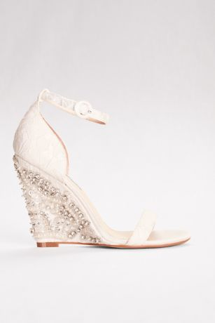 Blue By Betsey Johnson Ivory Wedges (High Heel Embellished Wedges with Ankle Strap)