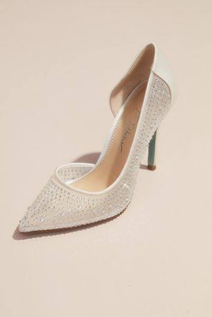 Betsey Johnson x DB Ivory;Pink Pumps (Mesh and Satin Crystal Pumps)