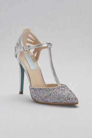Blue By Betsey Johnson Grey;Pink Heeled Sandals (Glitter and Metallic T-Strap Pointed-Toe Pumps)