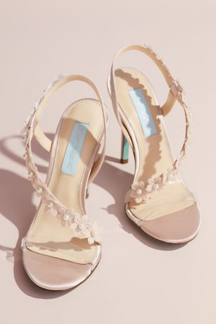 Blue By Betsey Johnson Beige Heeled Sandals (Floral Applique Cross-Strap Slingback Heels)
