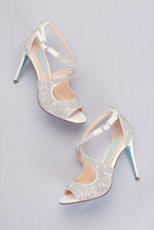 Blue By Betsey Johnson Ivory;Yellow Heeled Sandals (Jeweled Cross-Strap Peep-Toe Stiletto Heels)
