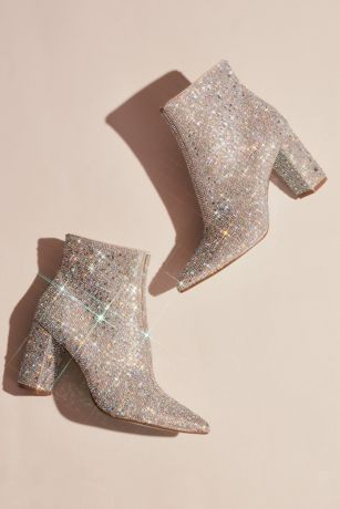 Blue By Betsey Johnson Grey Boots (Rhinestone Encrusted Heeled Ankle Booties)