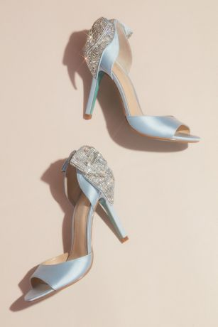 Betsey Johnson x DB Blue;White Pumps (Satin Peep Toe Stiletto Pumps with Sequin Bow)