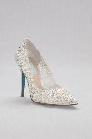 Blue By Betsey Johnson Grey;Ivory;Multi Pumps (Laser-Cut Crystal Embellished Pointed Toe Pumps)