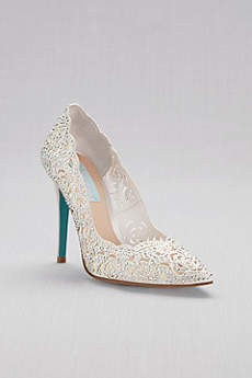 Blue By Betsey Johnson Grey Closed Toe Shoes (Crystal Embellished Laser-Cut Pointed Toe Pumps)