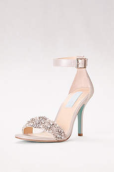 Blue By Betsey Johnson Grey Peep Toe Shoes (Embellished High Heel Sandals with Ankle Strap)
