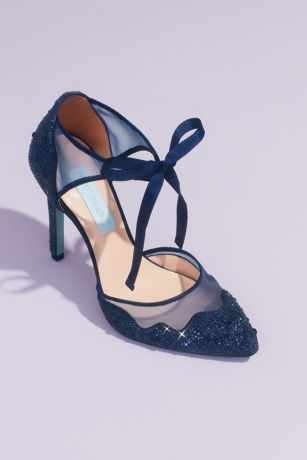 Blue By Betsey Johnson Blue Pumps (Crystal Embellished Tie Pumps with Illusion Mesh)