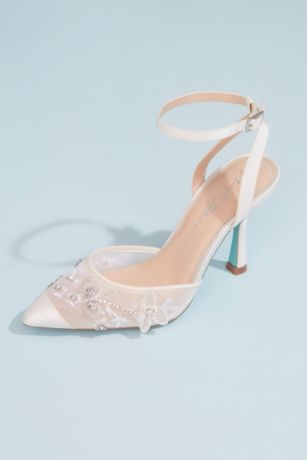 Blue By Betsey Johnson Ivory Pumps (Satin and Mesh Inkblot Heels with Floral Appliques)