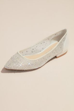 Betsey Johnson x DB Ivory Ballet Flats (Crystal-Adorned Transparent Mesh Pointy Toe Flats)