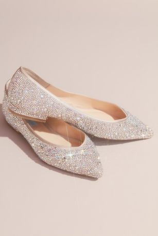 Blue By Betsey Johnson Beige Ballet Flats (Allover Crystal Almond-Toe Flats)