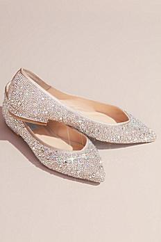 Allover Crystal Almond-Toe Flats SBJUDE
