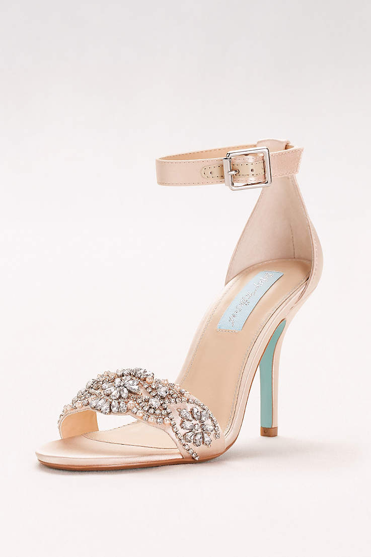 Blue By Betsey Johnson Grey Ivory P Toe Shoes Embellished High Heel Sandals With