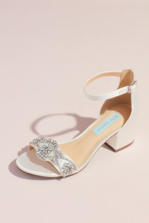 Blue By Betsey Johnson Ivory Heeled Sandals (Satin Block Heel Crystal Embellished Sandals)