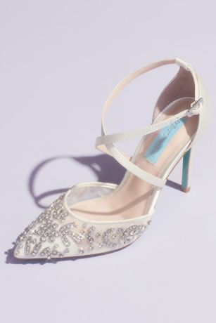 Blue By Betsey Johnson Ivory Pumps (Crossing Straps Crystal Embellished Stiletto Heels)