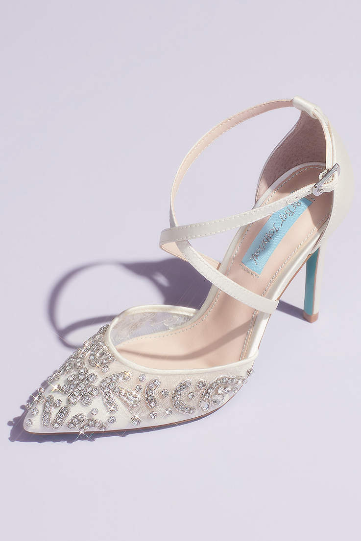 9cb63dbce38b Blue By Betsey Johnson Ivory Pumps (Crossing Straps Crystal Embellished  Stiletto Heels)