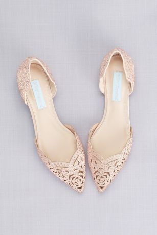 "Blue By Betsey Johnson Ivory Ballet Flats (Embellished Floral Cutout d""Orsay Flats)"