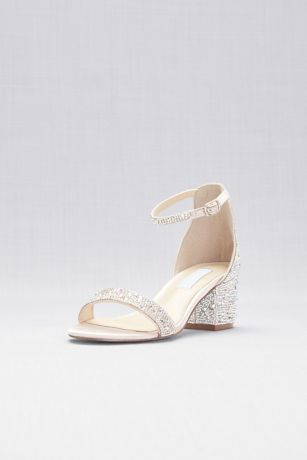 Blue By Betsey Johnson Beige Heeled Sandals (Block Heel Sandals with Allover Gem Embellishment)