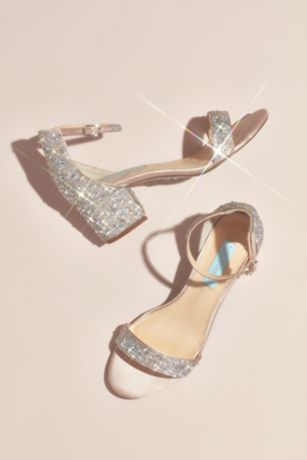 Blue By Betsey Johnson Beige;Ivory Heeled Sandals (Allover Embellished Iridescent Block Heel Sandals)