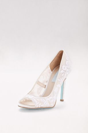 Blue By Betsey Johnson Ivory;Pink Pumps (Floral-Embroidered Mesh Peep-Toe Heels)