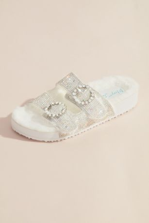 Betsey Johnson x DB White Flat Sandals (Glitter Double Strap Sandals)