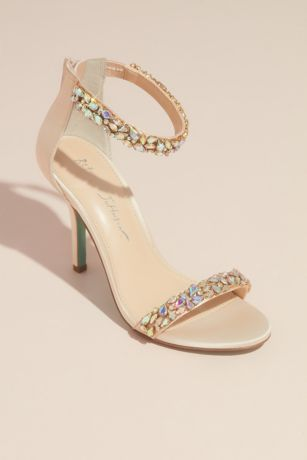 Blue By Betsey Johnson Grey;Ivory Heeled Sandals (Pear-Cut Crystal Mosaic Two-Strap Heels)