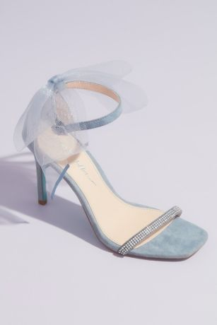 Betsey Johnson Blue Heeled Sandals (Tulle Bow High Heel Ankle Strap Sandals)