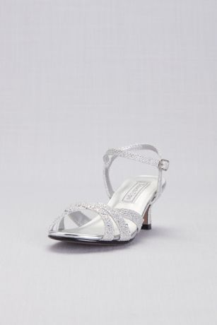 Touch Ups Grey;Ivory (Girls Strappy Crystal Low-Heel Sandals)