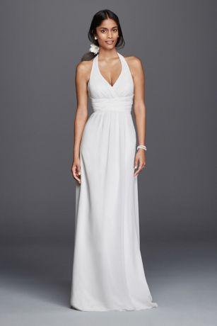 Chiffon Sheath Halter Wedding Dress