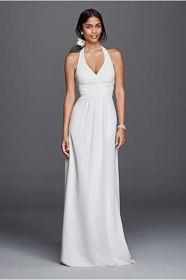Long, white chiffon sheath halter dress