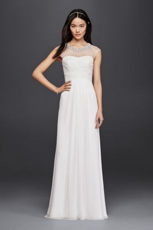 Sheath Wedding Dress with Beaded Illusion Neckline | David ...