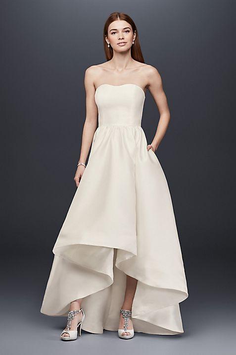 Mikado High-Low Wedding Dress | David\'s Bridal