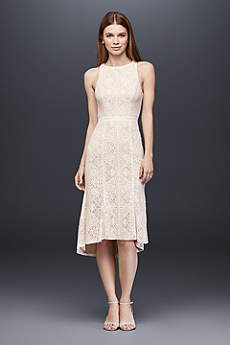 Knee-Length Lace Sheath Dress with Flounce Hem