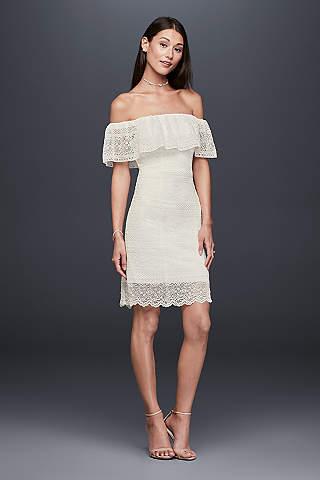 Short tea length wedding dresses davids bridal short sheath casual wedding dress db studio junglespirit Gallery