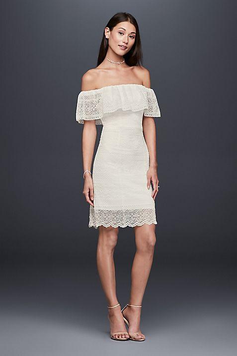 Off-the-Shoulder Flounced Short Lace Dress   David\'s Bridal